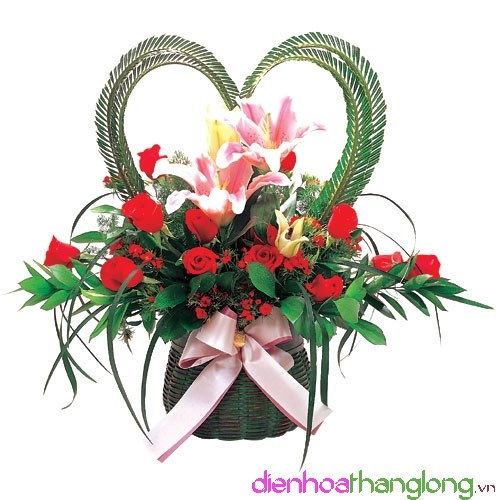 Beautiful arrangement flowers on Valentines day